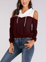 Sexy Ladies Wine Red Hooded Top Patchwork Cold Shoulder Womens Apparel