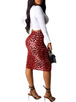 Alluring Red 2 Pieces Top Leopard Printed Skirt Feminine Charm