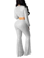 Fresh Silver Cropped Top Full Length Bell Bottoms Girls Fashion