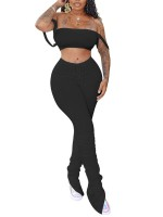 Inspired Black Tube Top And Ruched Split Trousers Women's Fashion