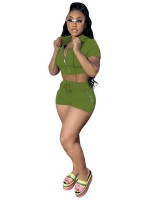 Enthusiastic Grass Green Hooded Neck Zipper Top And Shorts Suit