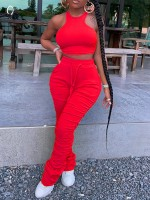 Nicely Red Solid Color Pants Set High Waist Natural Women Fashion