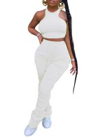 Shimmer White Sleeveless Top Ruched Full Length Pants For Holiday