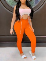 Likable Orange Sleeveless Waist Cutout Legging Suit Simplicity