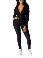 Black Hood Workout Two-Piece With Pocker Comfort Women