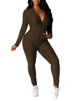 Brown Side Pockets Hoodie Sports Top Suit For Sexy Women