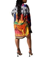 Lapel Neck Printed Shirt Dress With Shorts Womens Trendy Clothes