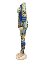Light Blue Lapel Neck Long Sleeve 3 Piece Outfits For Women