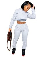 Gray High Waist 2-Piece Outfits Long Sleeves For Camping