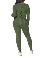 Blackish Green Long Sleeve Back Straps Two Piece Outfit