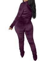 Purple Long Sleeve 2 Piece Outfits Golden Velvet All-Match Style