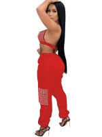 Red Women Set Backless Deep-V High Rise Women's Fashion
