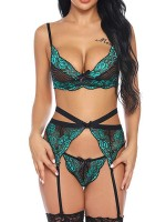 Enchanted Green Lace Colorblock Bralette Set Cut Out Super Sexy