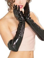 Honeymoon Black Patent Leather Solid Color Long Gloves High Grade