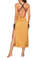 Exceptional Yellow Crisscross Back High Slit Lace Sleepwear For Female