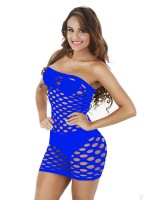Luxurious Blue Solid Color Teddy Thigh Length Hollow Affordable Wholesale