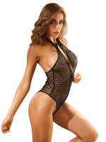 Fiery Black Fishnet Zipper Teddy Lingerie Halter Noble Making