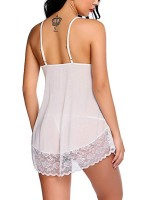 Flossy White Floral Lace Solid Color Panty Babydoll Affordable