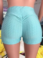 Lak Blue High Waist Pleated Athletic Shorts