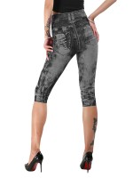 Mysterious Light Gray Cropped Demin Print Leggings Queen Size