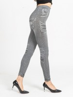 Homelike Fake Jeans Plus Size High Rise Leggings Ladies Clothing