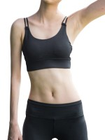 Built-In Removable Pads Solid Black Running Bra Tops