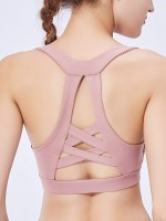 Glam Light Pink Cross U Neck Sport Bra Open Back Heartbreaker