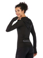 Glossy Black Long Sleeve Top Hooded Collar Pocket Delightful Garment