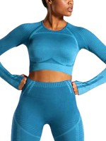 Contouring Sensation Blue Thumbhole Long Sleeve Running Top For Female