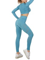 Outdoor Sky Blue 2 Pieces Yoga Top Ankle Length Pants For Women