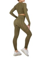 Modern Army Green Hollow Out Sports Suits Full Length Ladies