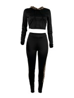 Athletic Black Leopard Patchwork Cropped Sports Set Running Outfits