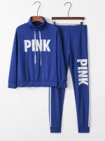 Elegant Royal Blue Letter Printed Queen Size Sweatsuit For Shopping