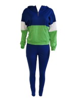 Fresh Deep Blue Long Sleeves Hood Top And Sports Pants Tight