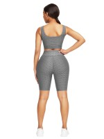 Lightweight Gray Jacquard Yoga Top High Waist Shorts Breath