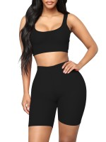 Individualistic Black Training Suits High Waist Scoop Neck