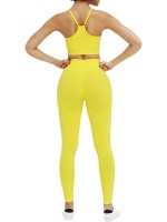 Faddish Yellow Wide Waistband Seamless Sweat Suit Female Charm