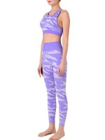 Eye Catching Purple Camouflage Print Sweat Suit Sleeveless Feminine