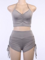 Multi-Function Gray Racerback Sports Suit Wide Waistband For Female
