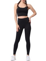 Liberty Trendy Black Yoga Suit Solid Color High Waist Quick Drying