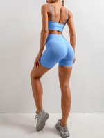 Breathable Blue Slender Strap Seamless Yoga Shorts Set Tight
