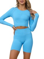 Dazzling Light Blue Seamless Crop Sweat Suit Long Sleeve