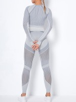 Light Gray Knit Splice Seamless High Waist Yoga Suit Workout Apparel