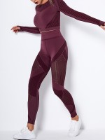 Wine Red Seamless Long Sleeve High Waist Yoga Suit Stretchy