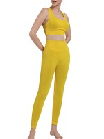 Yellow Seamless Punching Yoga Suit Removable Cups Stretch