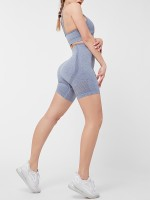 Light Blue Hollow Out Open Back Seamless Yoga Suit For Female