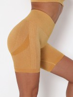 Yellow Wide Waistband Knit Running Shorts Women's Fashion