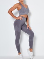 Gray Ankle-Length Removable Pads Yoga Suit Soft-Touch