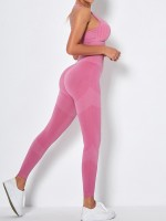 Pink Back Punch Removable Pads Yogawear Suit Form Fitting