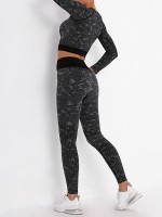 Black Crop Top U-Neck Sports Bra Ankle Length Leggings Nice Quality